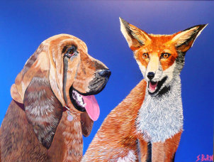 Dog and Fox painting